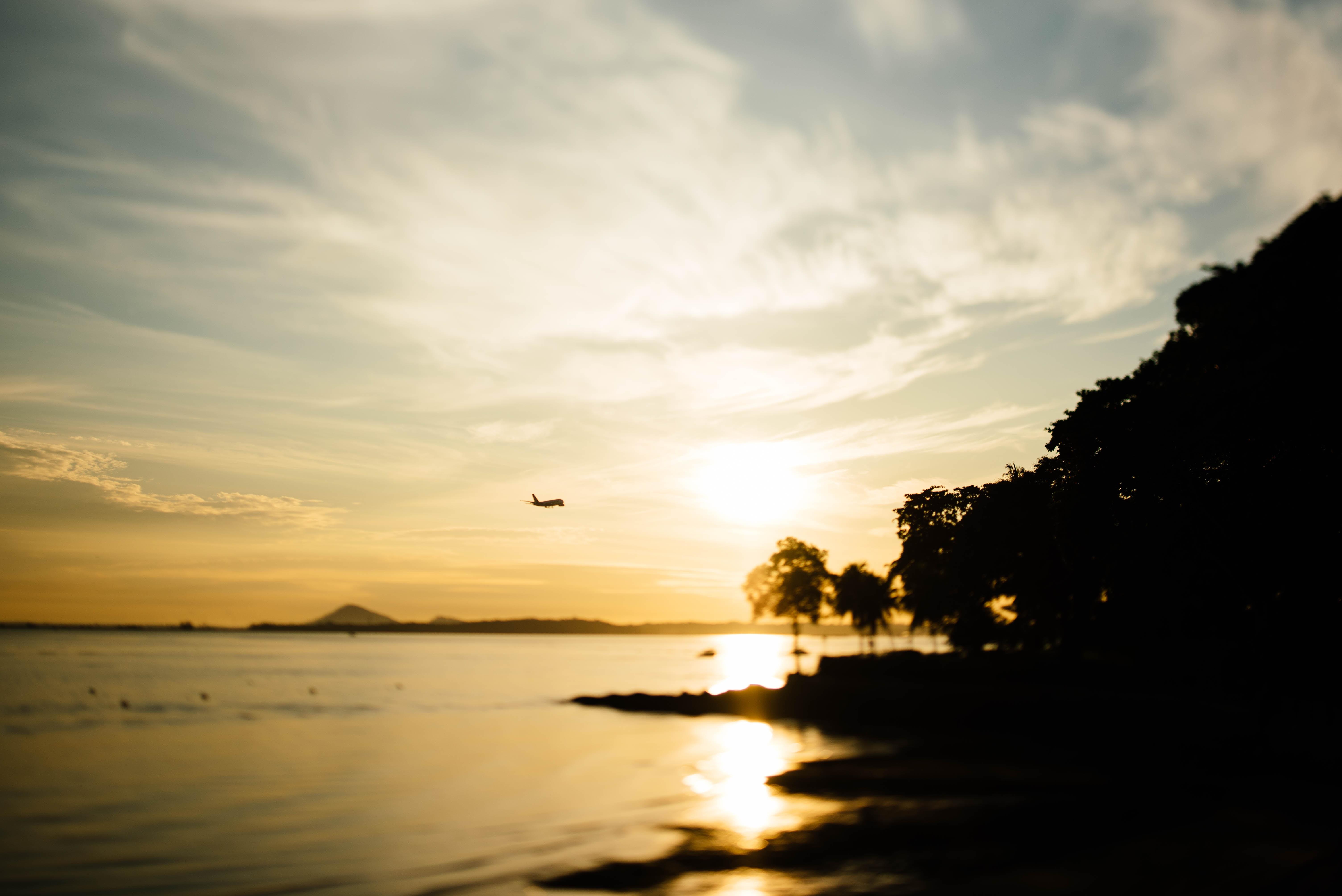 airplane during sunset