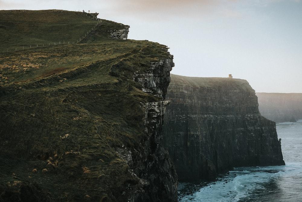 cliffs with grass near water