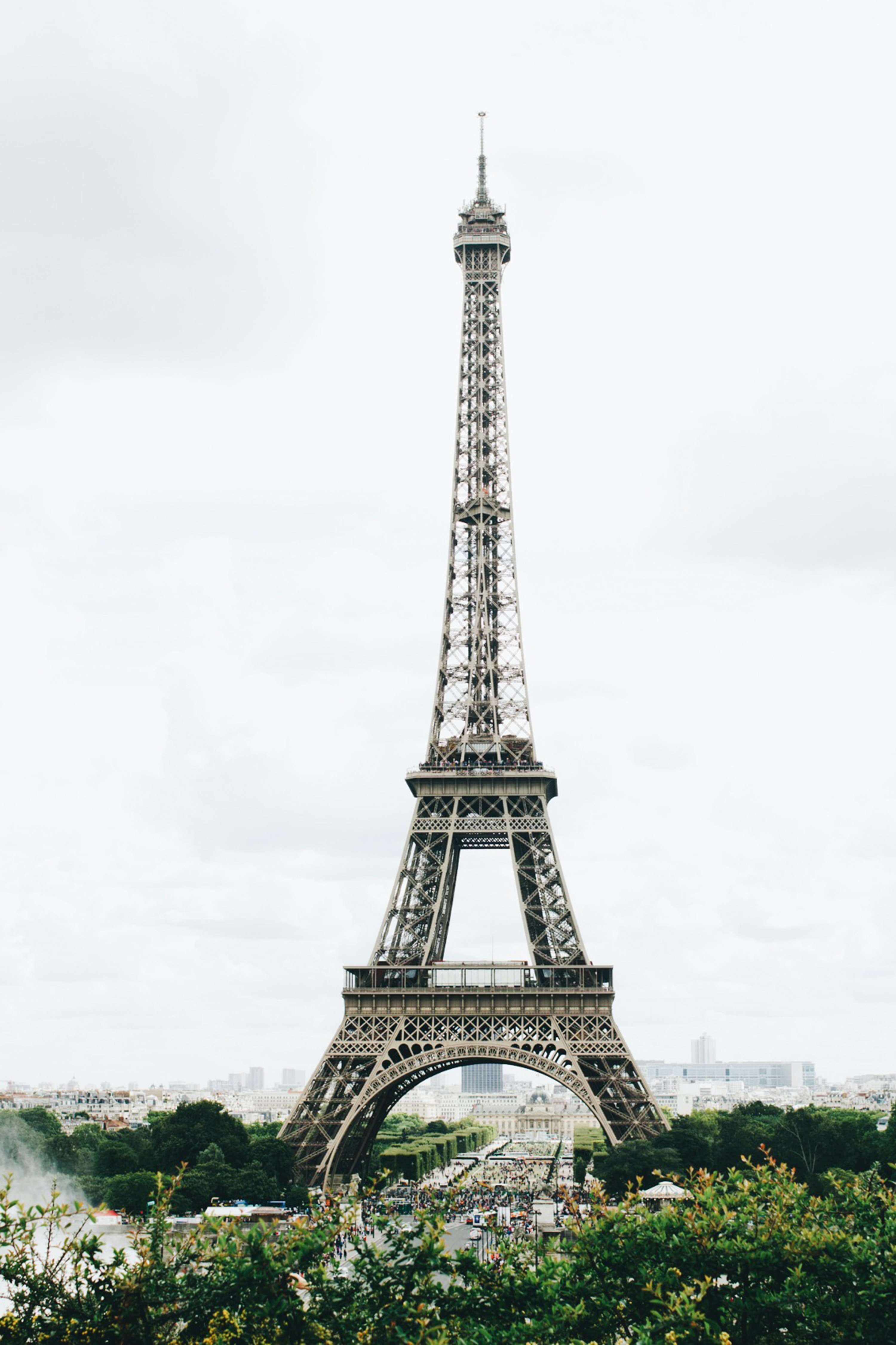 The eiffel tower on a cloudy day in Paris