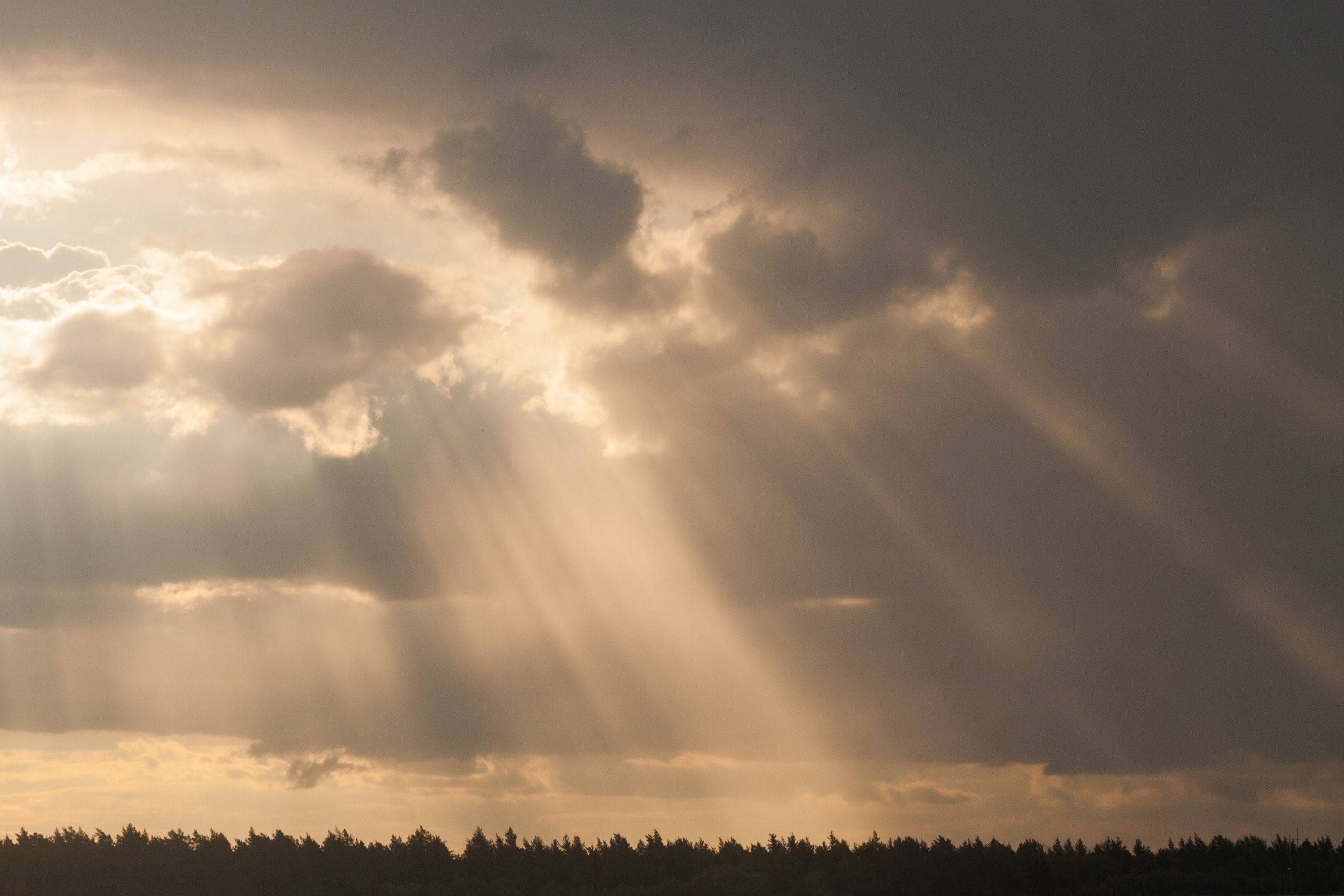 sepia photography of god's ray under stratocumulus clouds