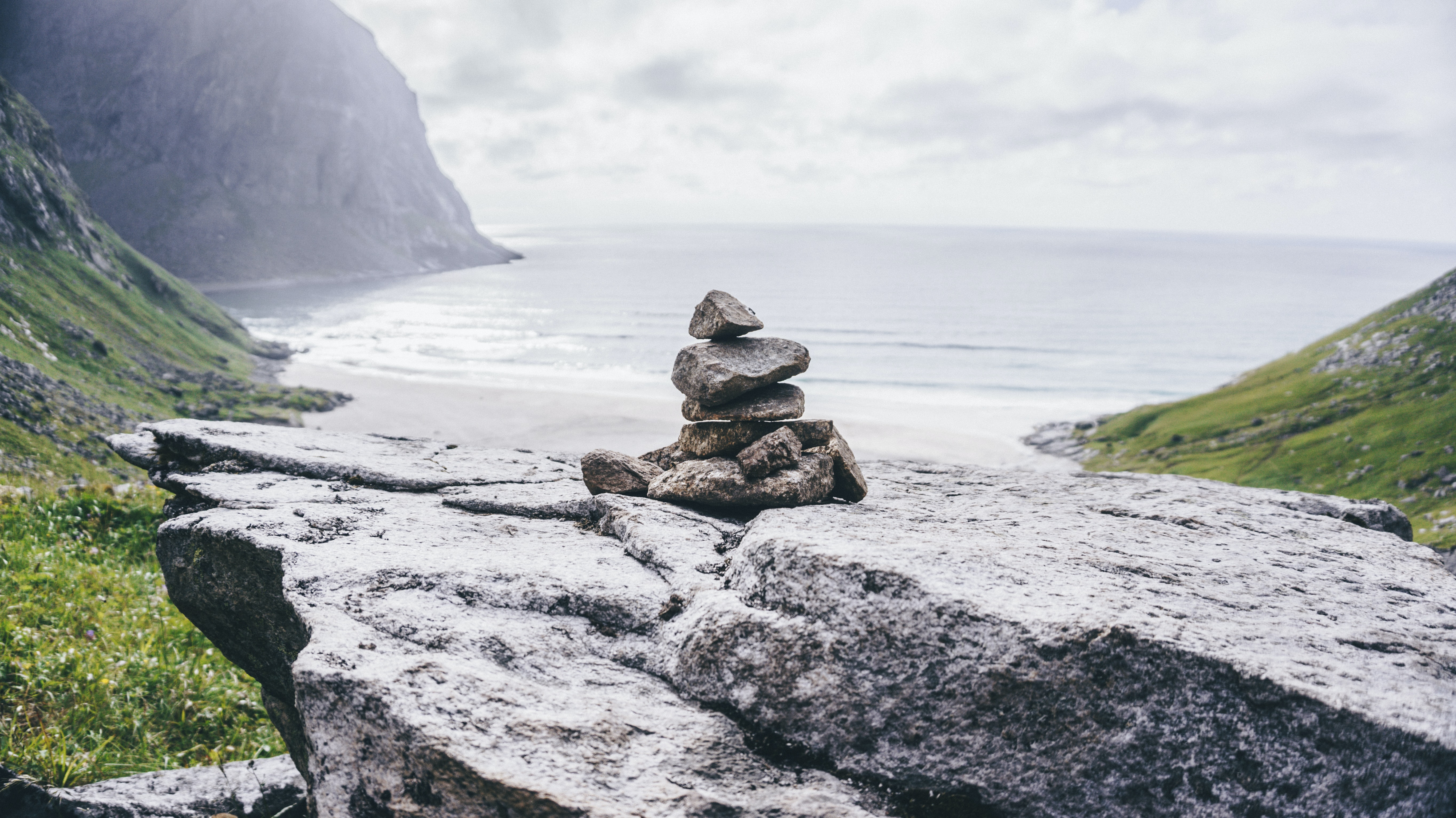 cairn stones on rock formation