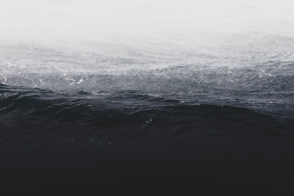 grayscale photo of ocean wave