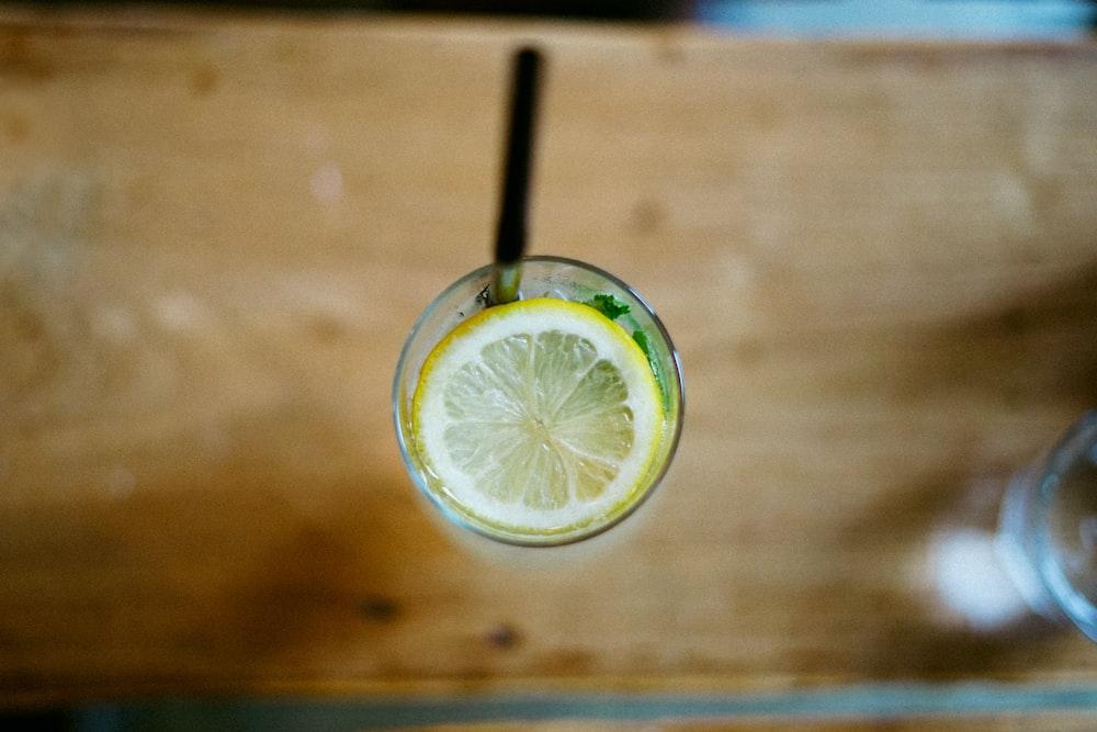 lemon in glass