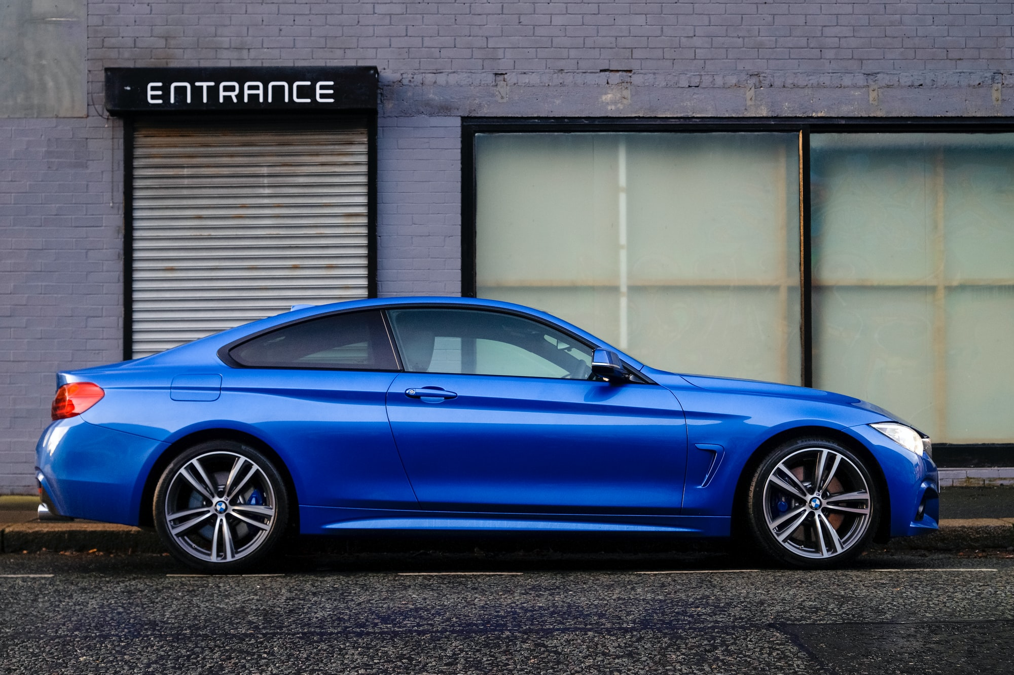 Blue car entrance