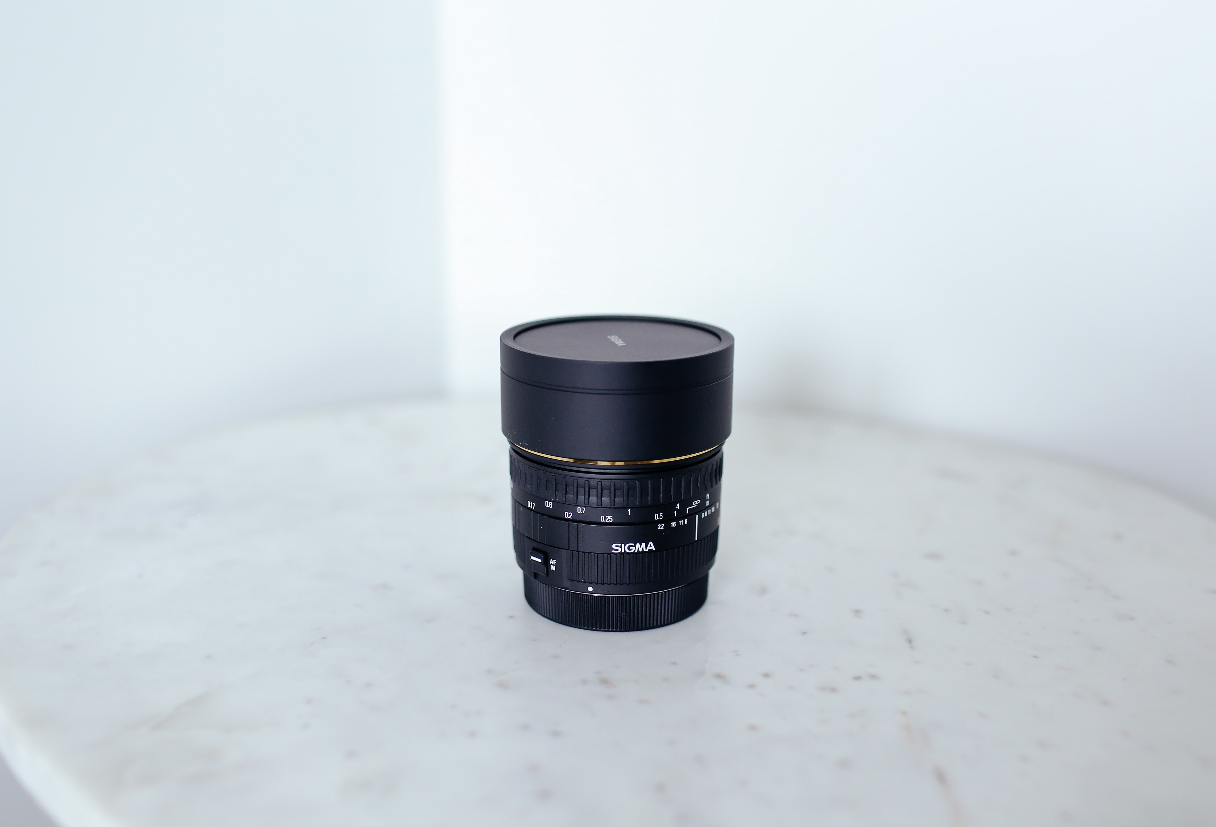 camera lens on table