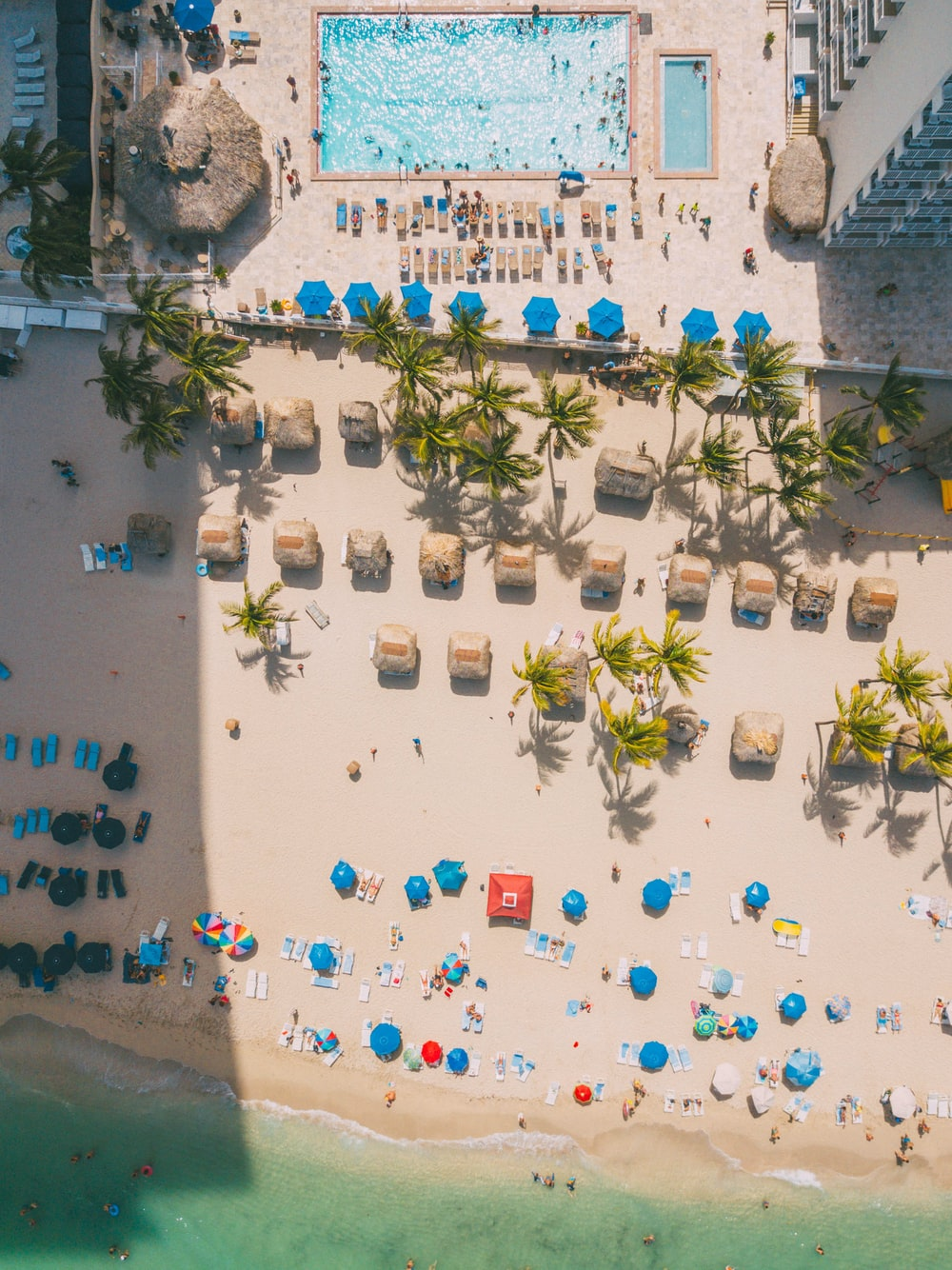 aerial photography of beach and swimming pool