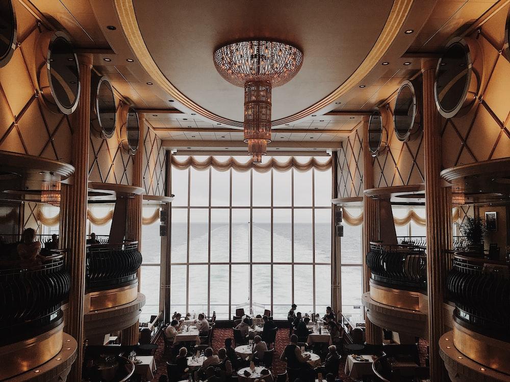 cyrstal chandelier in restaurant
