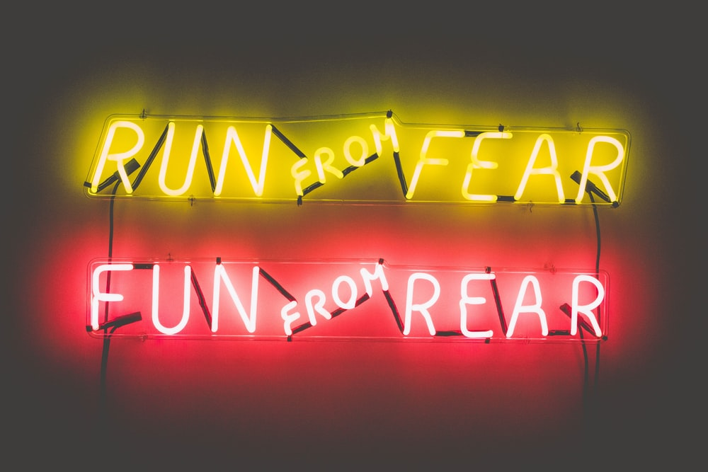 Run From Fear Fun From Rear lighted neon signage