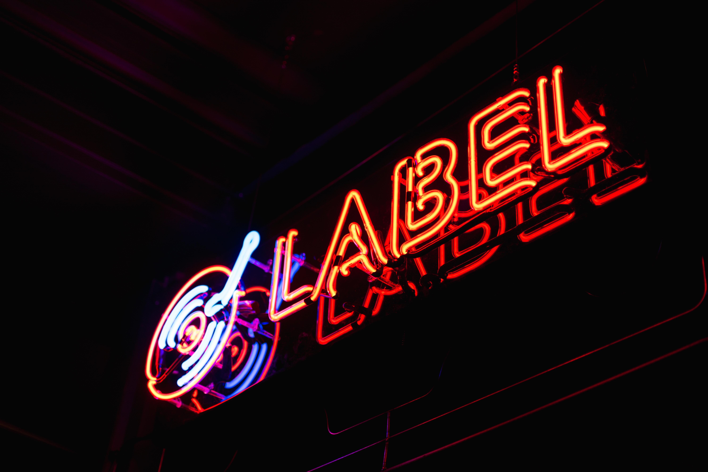 red Label neon light signage
