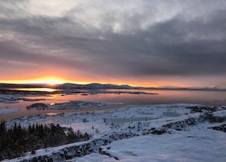 aerial photo of snowed island