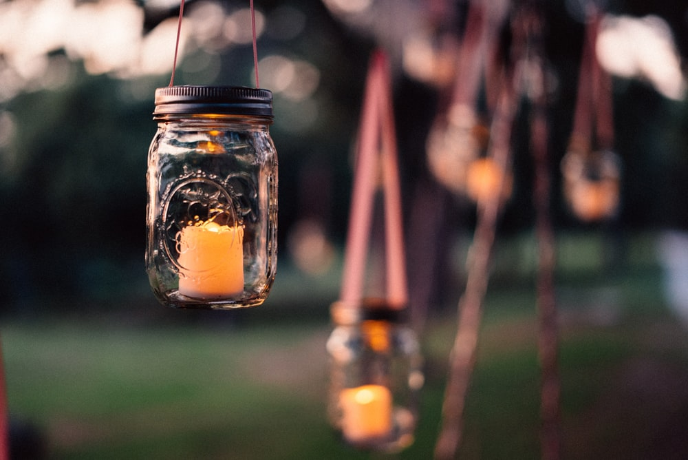 glass mason jar candle holder