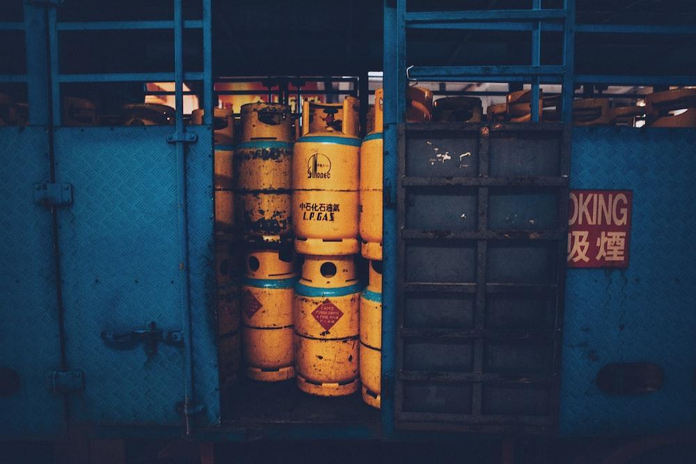 yellow propane tank lot on truck