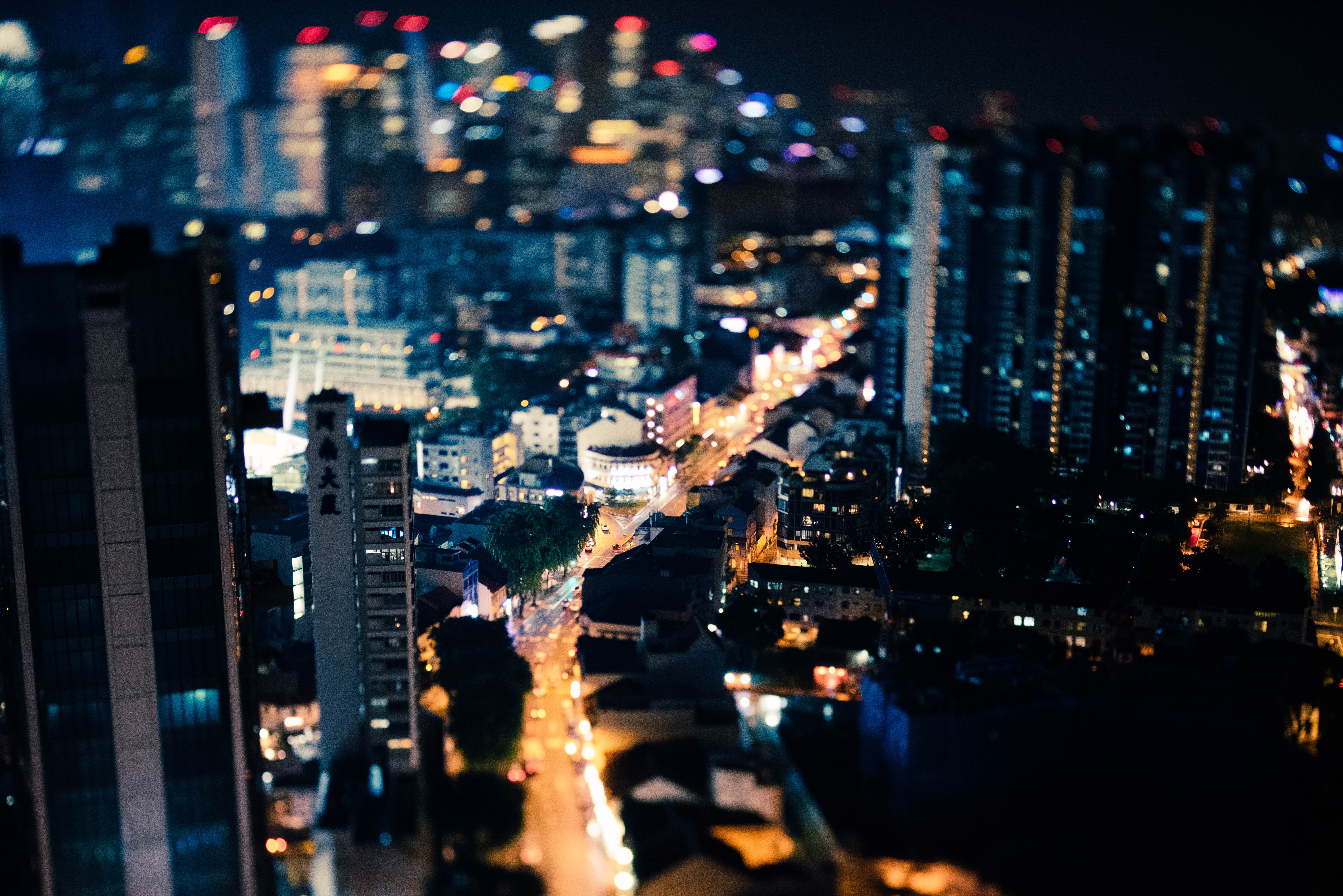 aerial photograhy of city buildings during nighttime