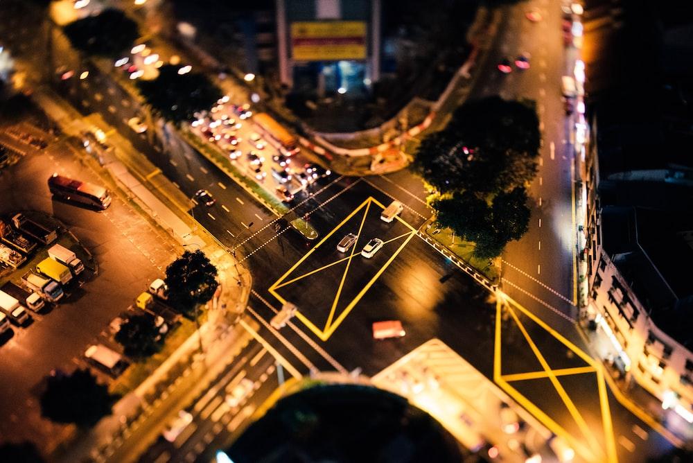 bird's eye photography of crossing high way