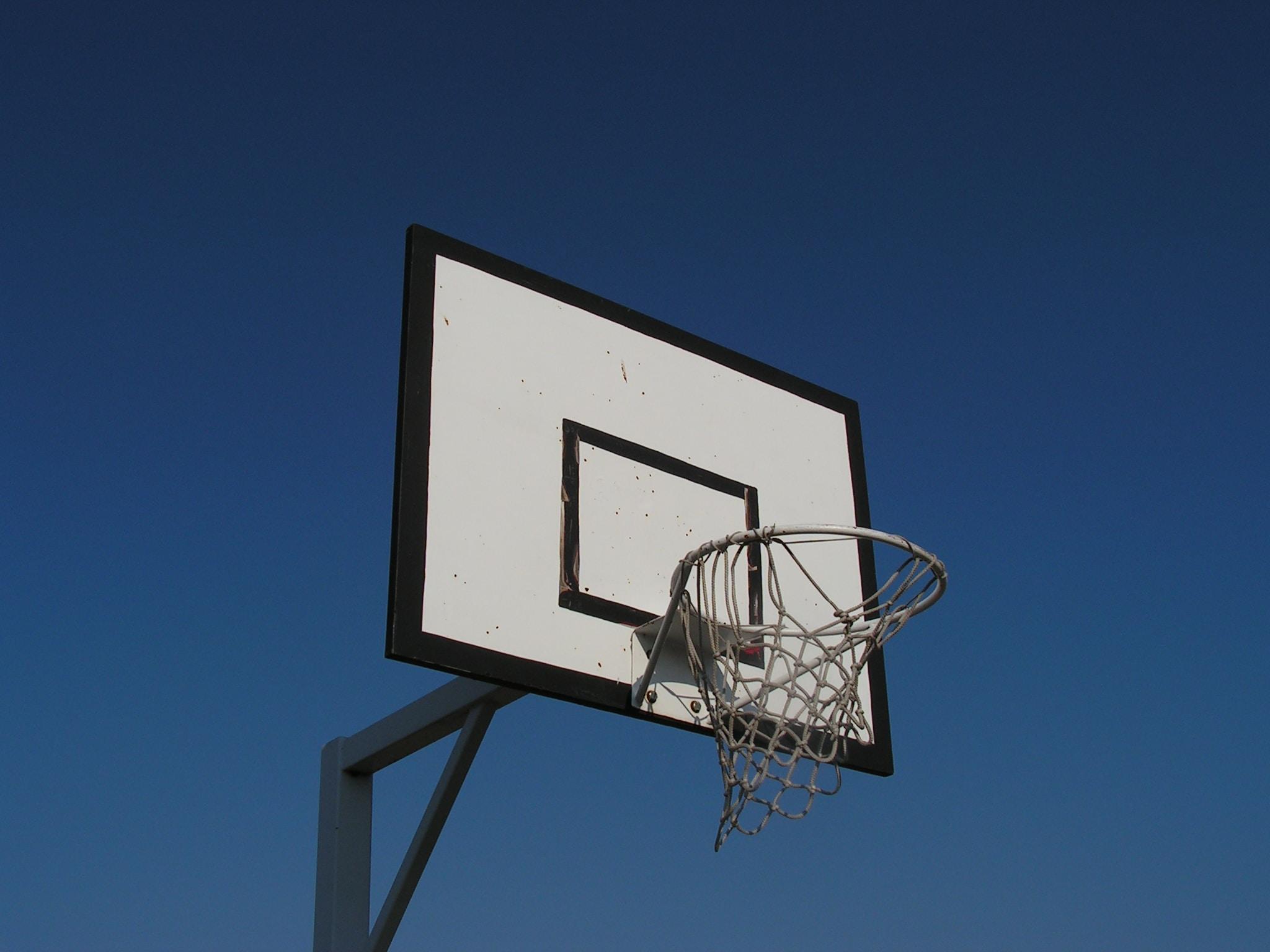 white and black basketball goal