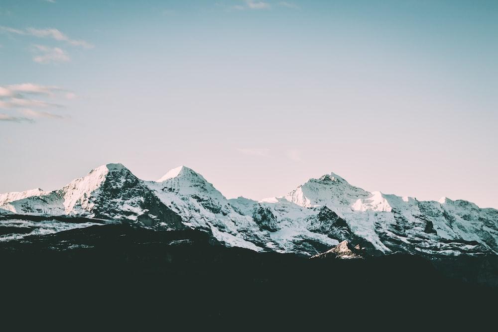 snow coated mountain