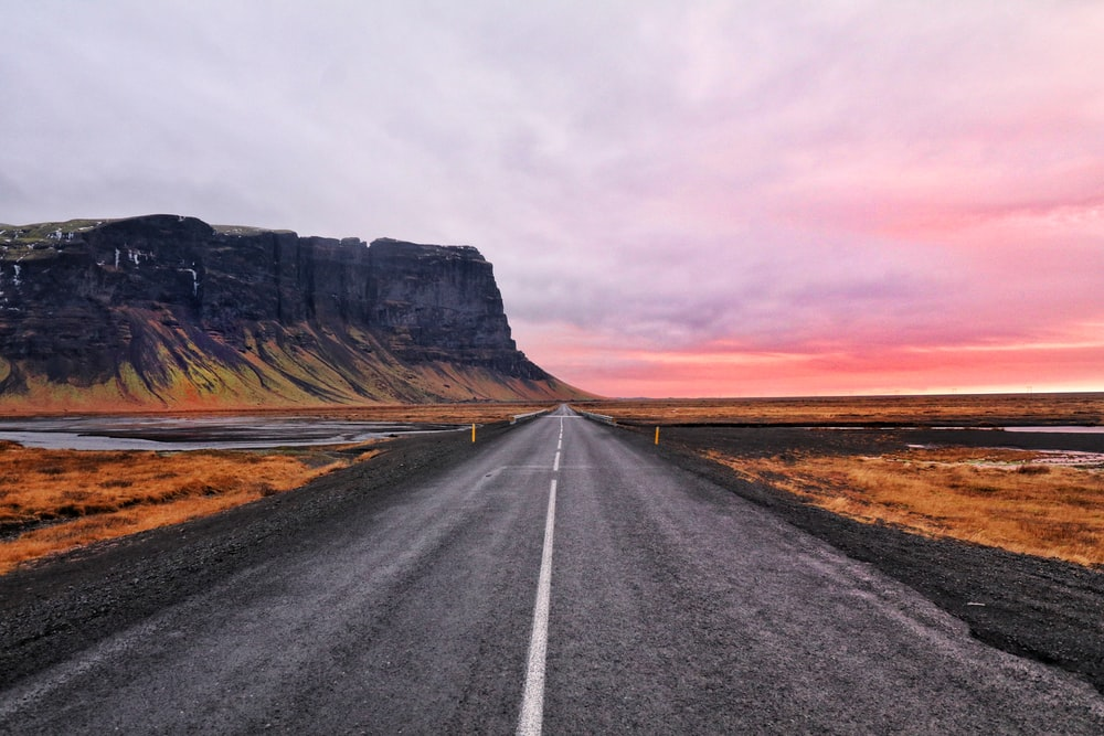 asphalt road and cliff horizon