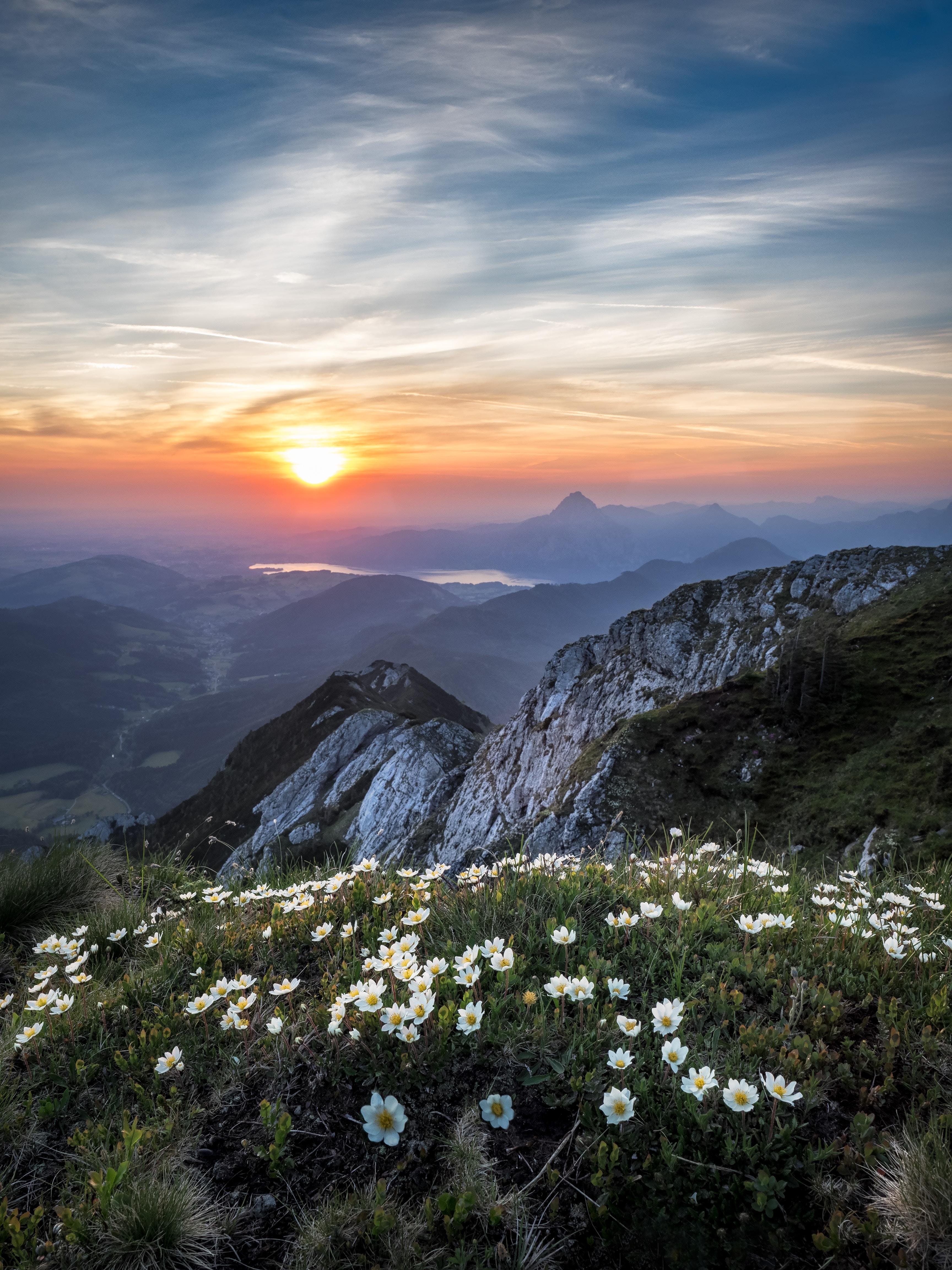 bird's eye view of gray mountain during daytime
