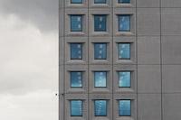gray and blue cartoon building illustration