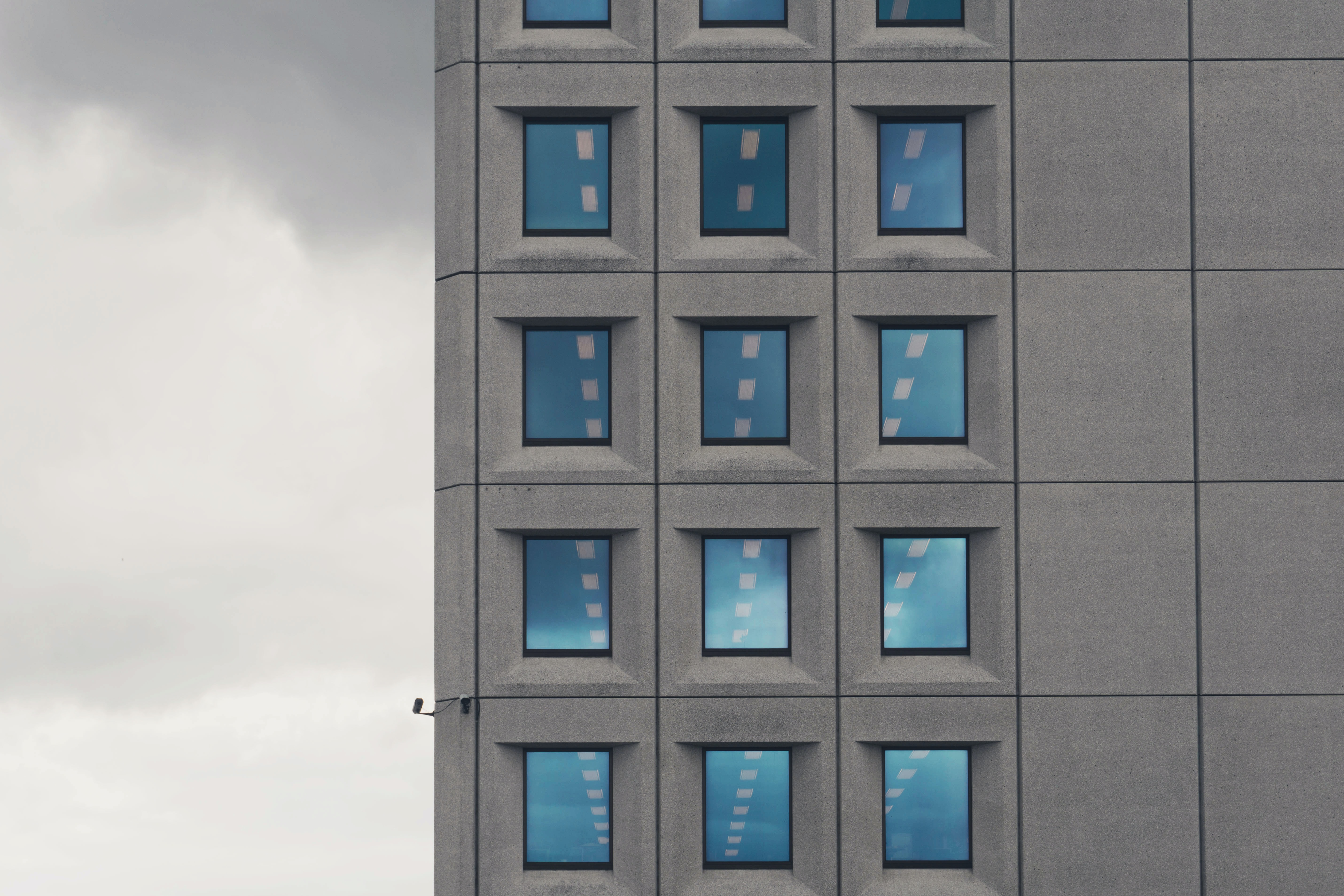 gray and blue cartoon building illustration