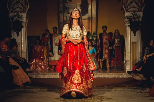 Sabyasachi velvet lehenga is another good option for brides in winter