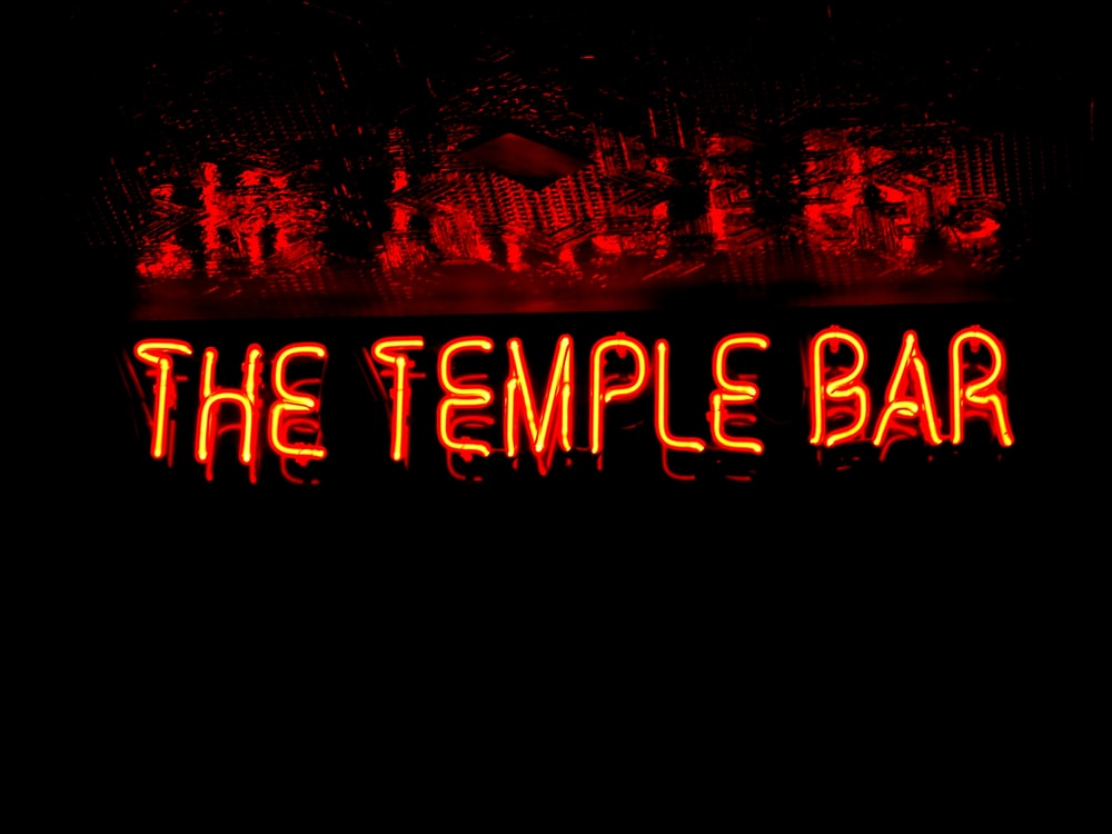 The Temple Bar neon light signage