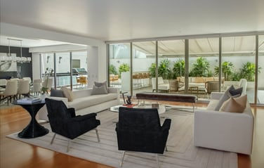 home furniture interior design. Living and dining room with black white furniture facing patio  plants Interior Design Pictures 20 Download Free Images on Unsplash