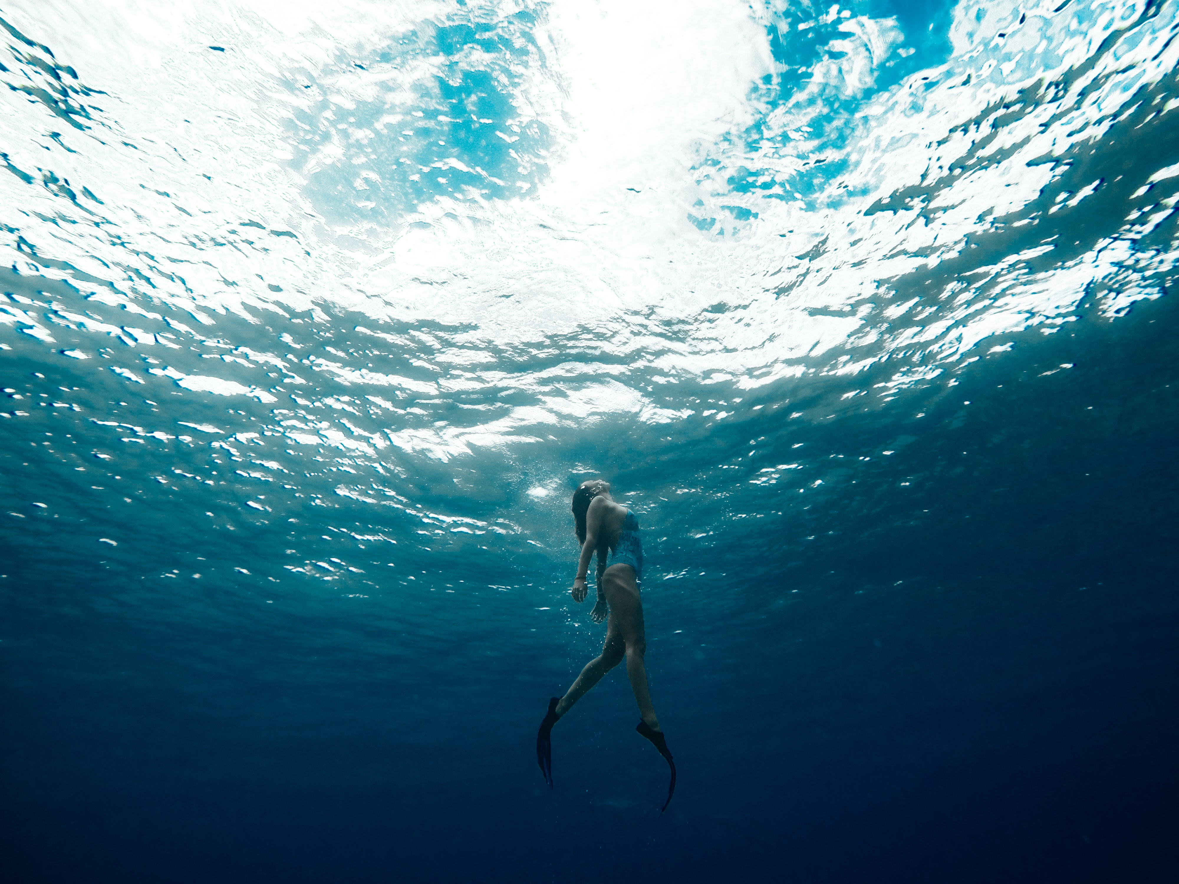 A woman in swim fins swimming towards the surface of the water