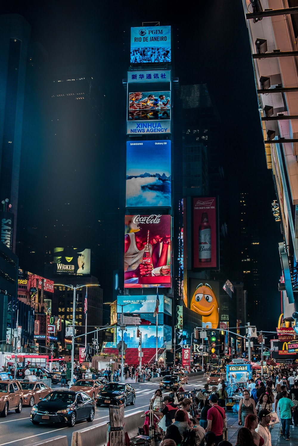 people at Time Square, New York city at night