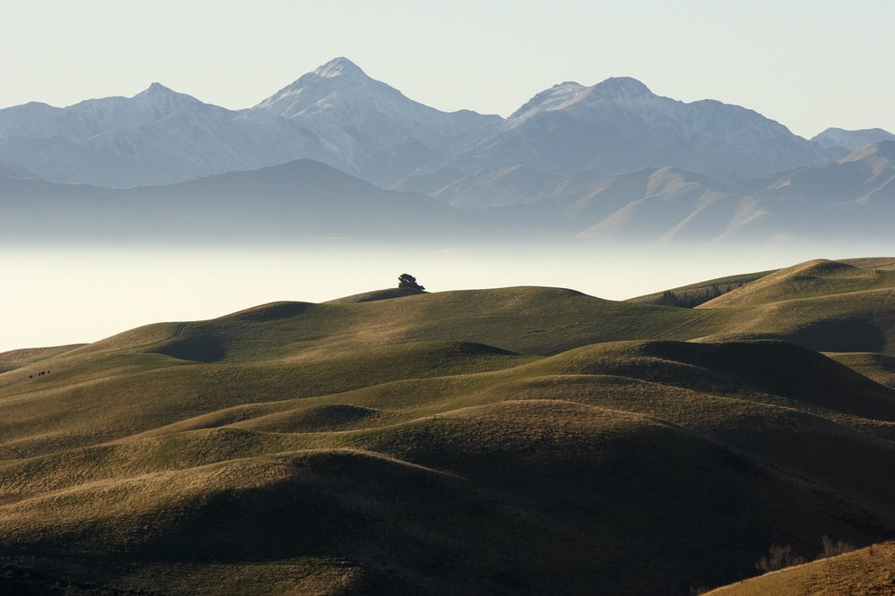 mountains with fogs under white sky