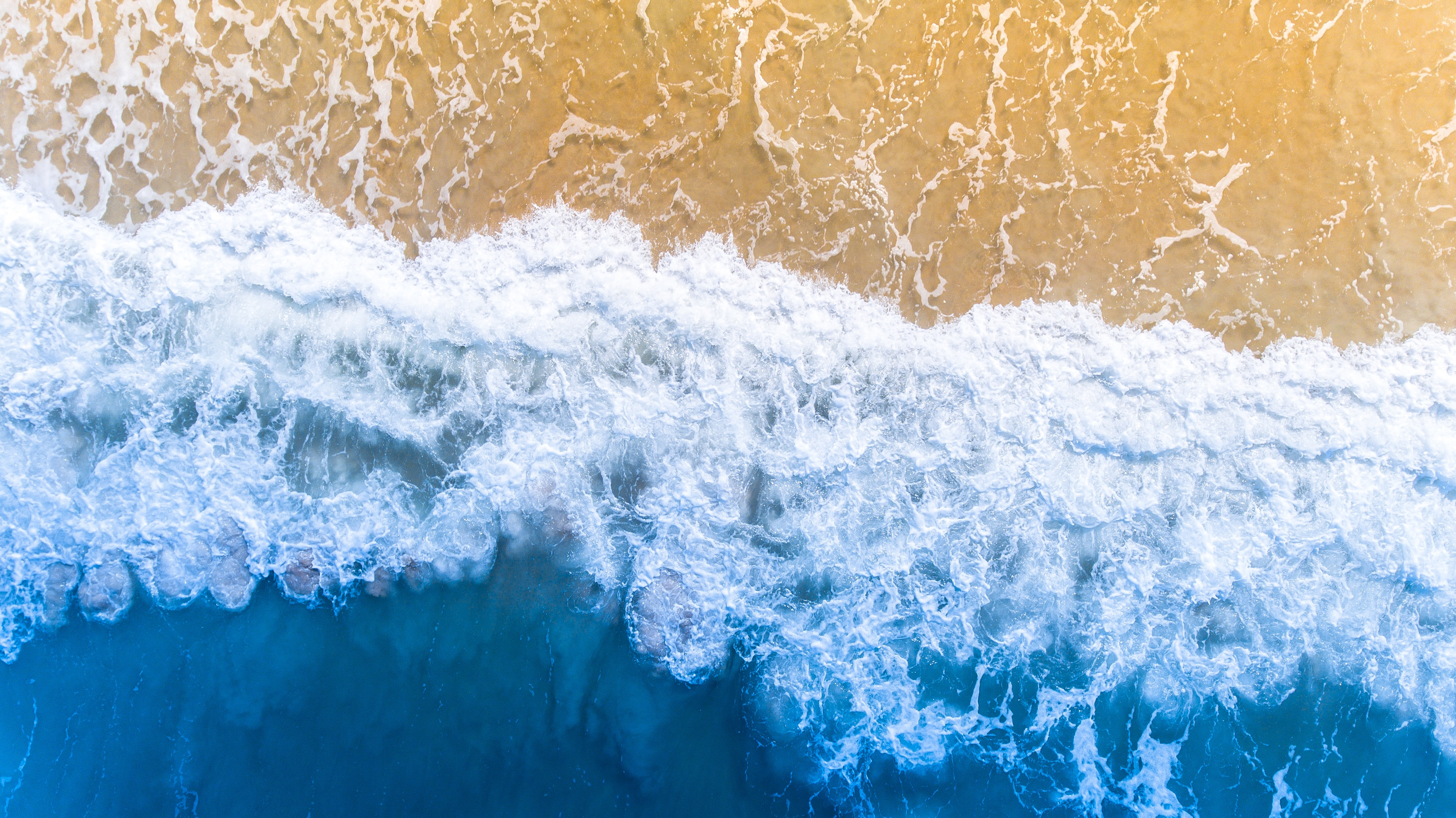 A drone view of the beach and ocean in Palm Coast, Florida, United States