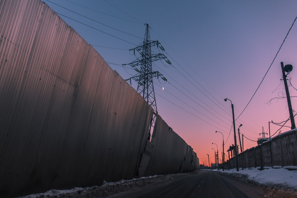 galvanized sheet fence near tower