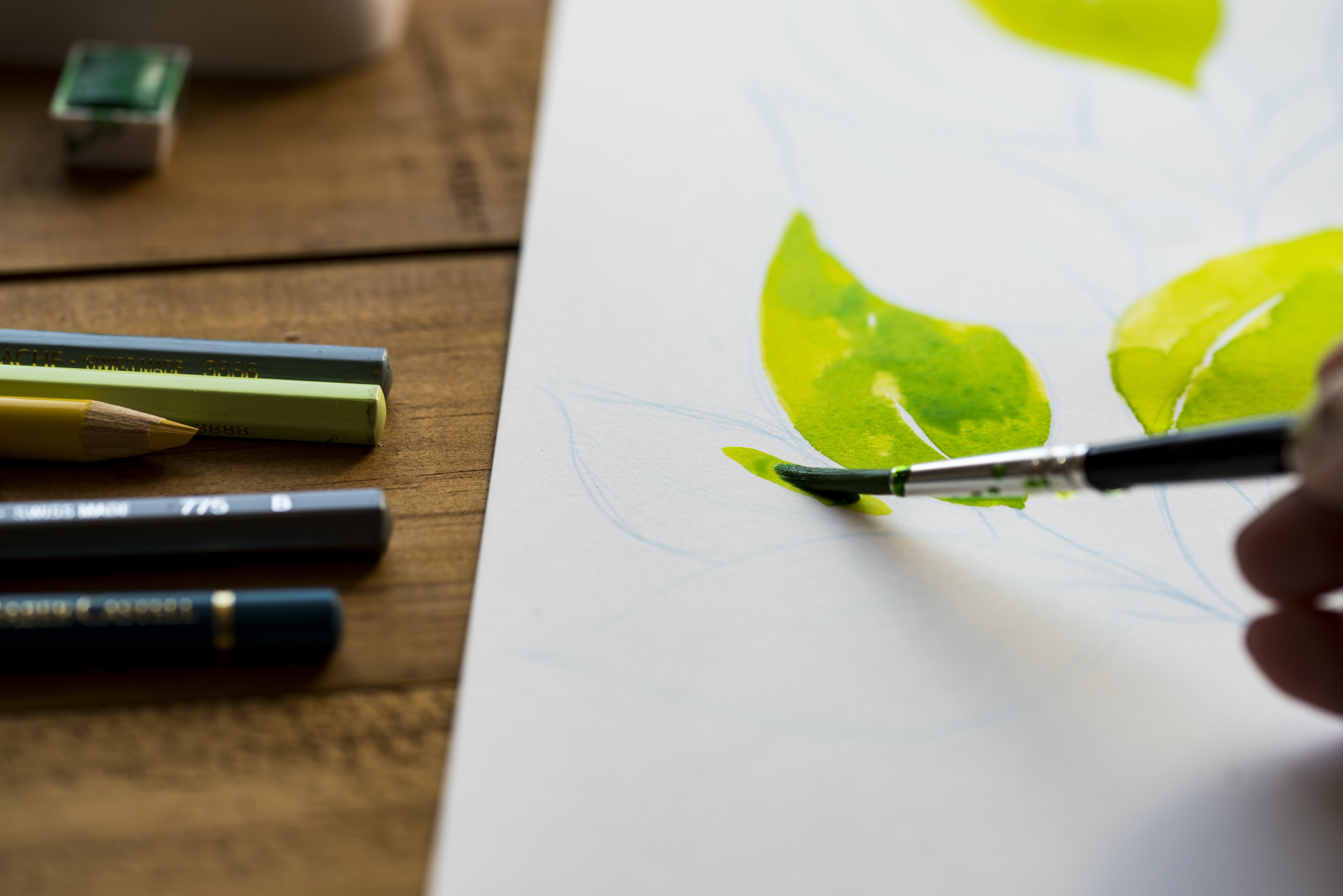 A person paints leaves on a piece of paper on a wooden desk