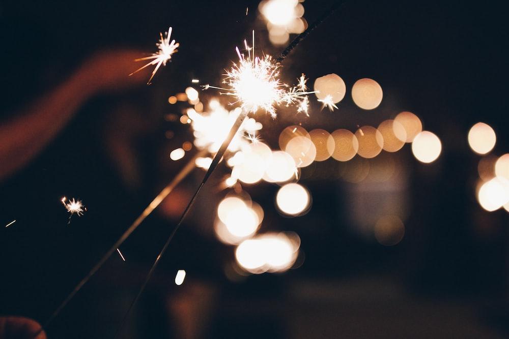 bokeh photography of sparkler