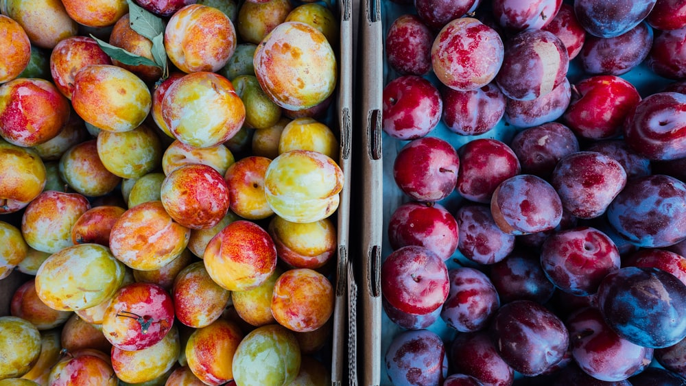 round red, yellow, and green fruits