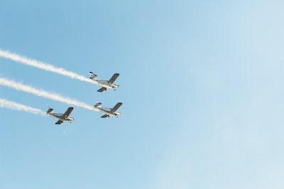 3機の飛行機が飛ぶ様子