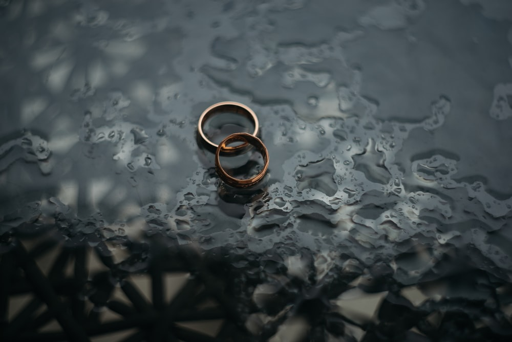 two bronze-colored rings