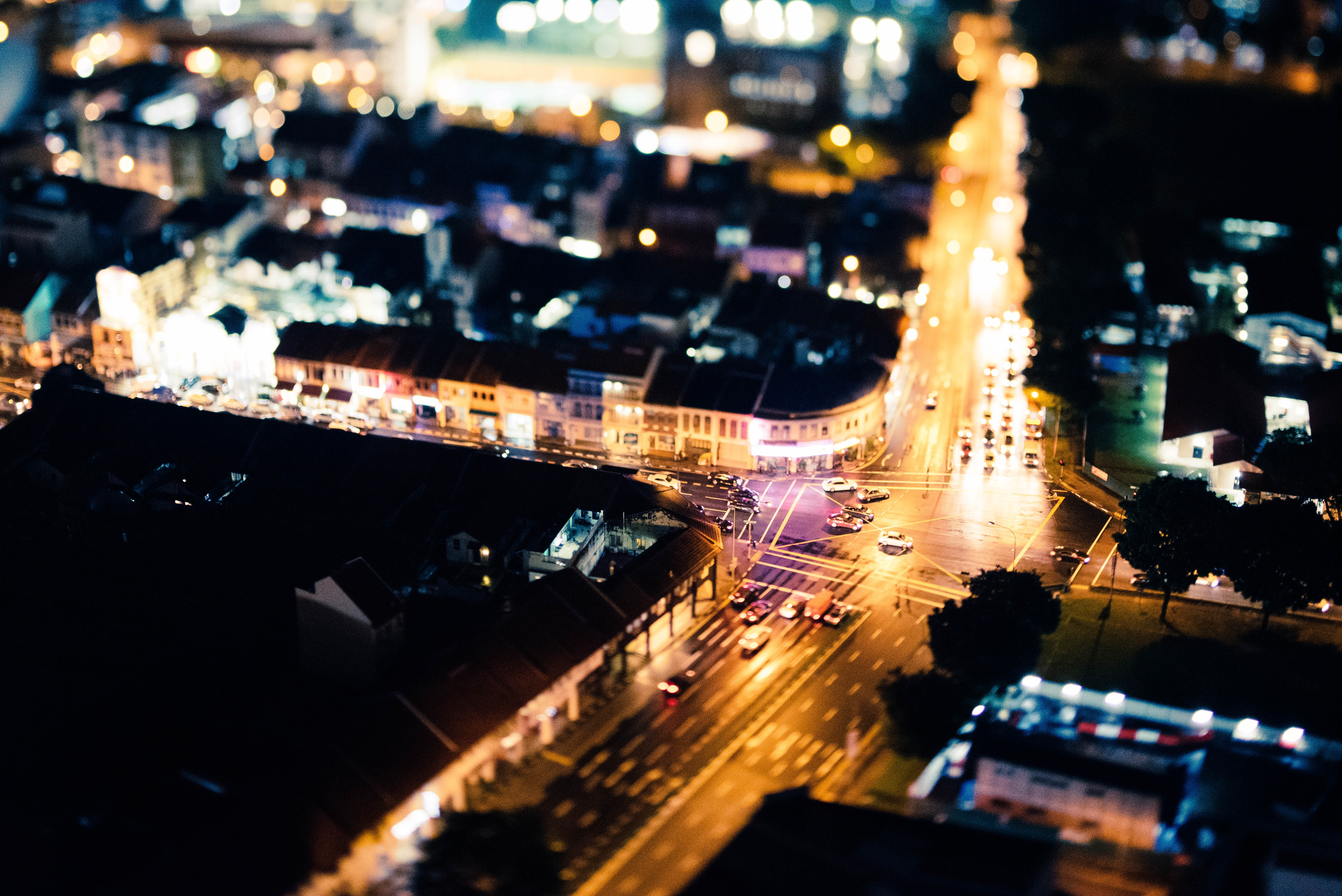 aerial photography of city buildings at night time