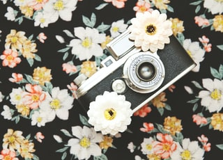 black and silver SLR camera with white flowers