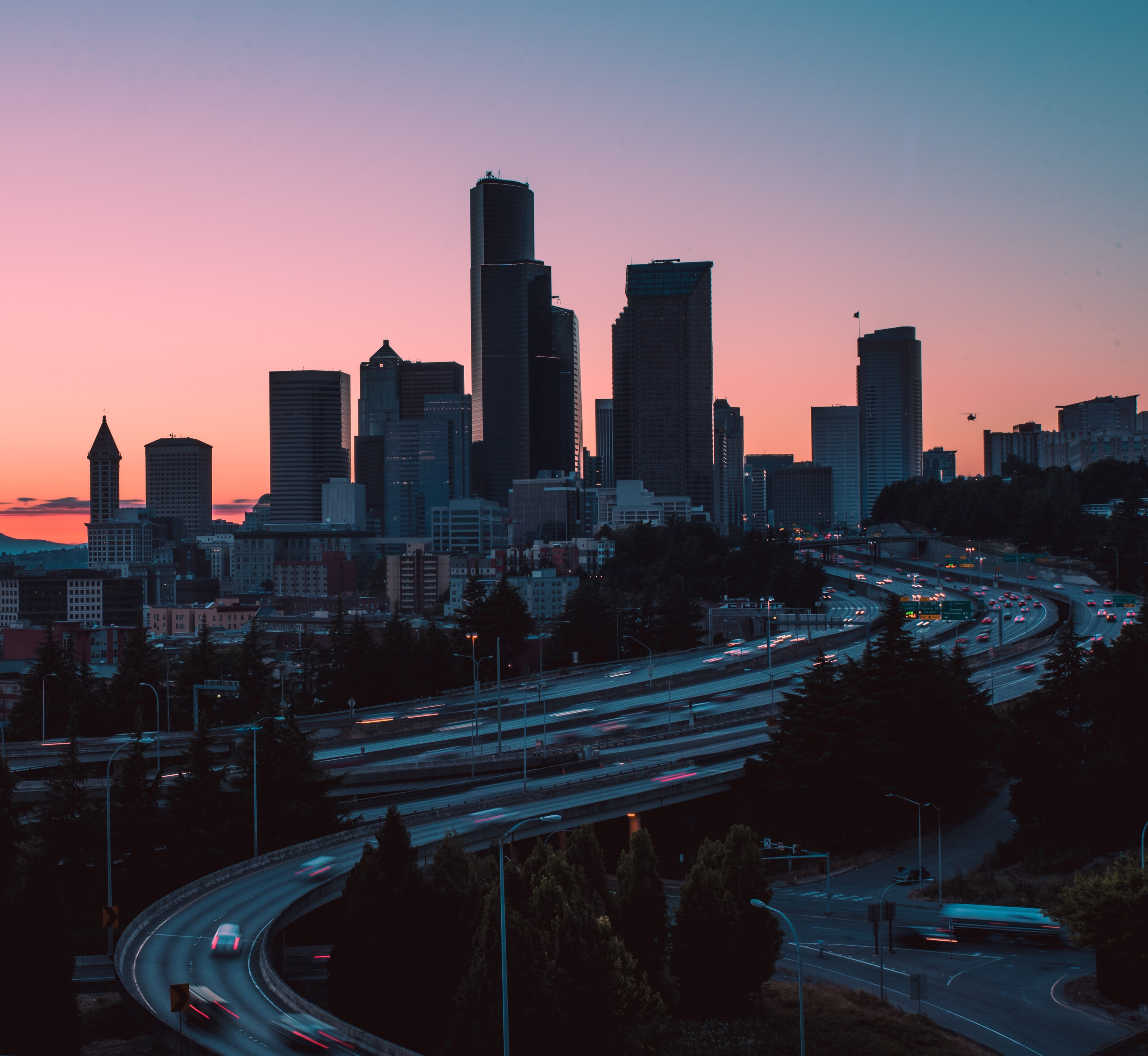 silhouette of highway and buildings