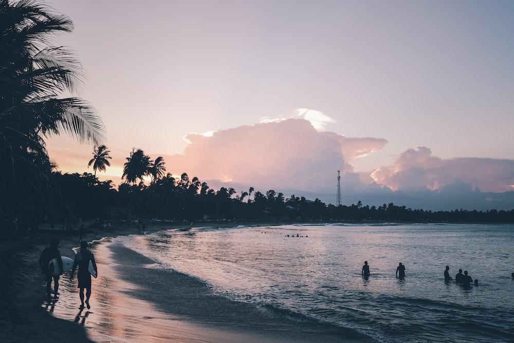 people walking at the seashore