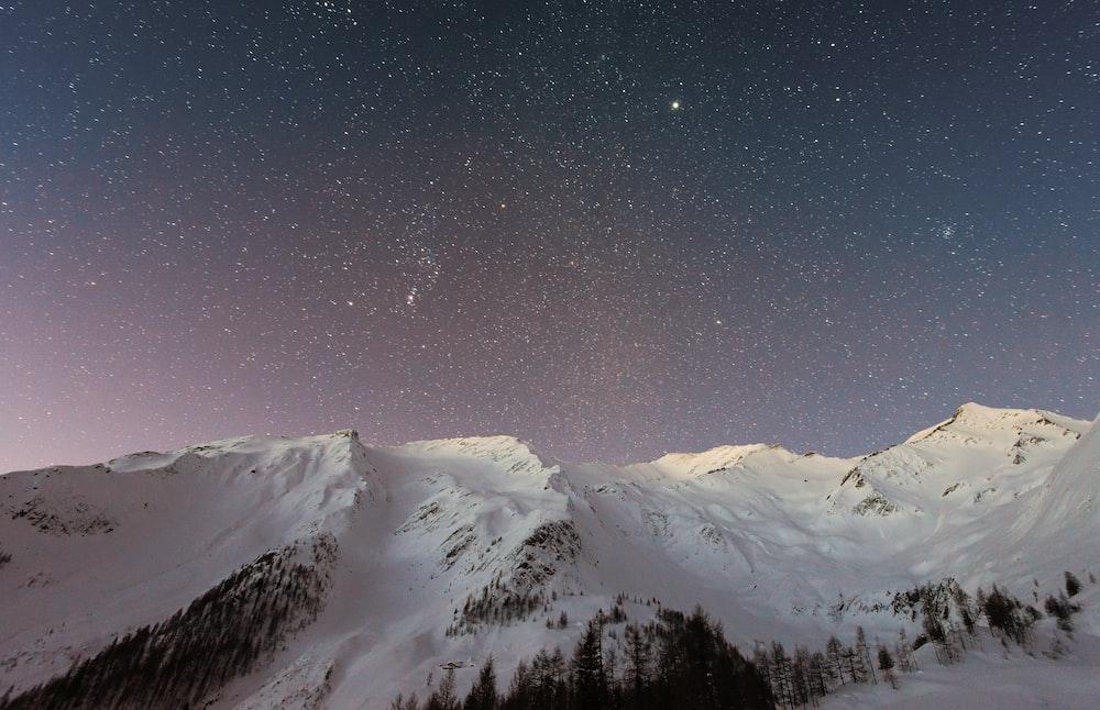 white mountain during nighttime