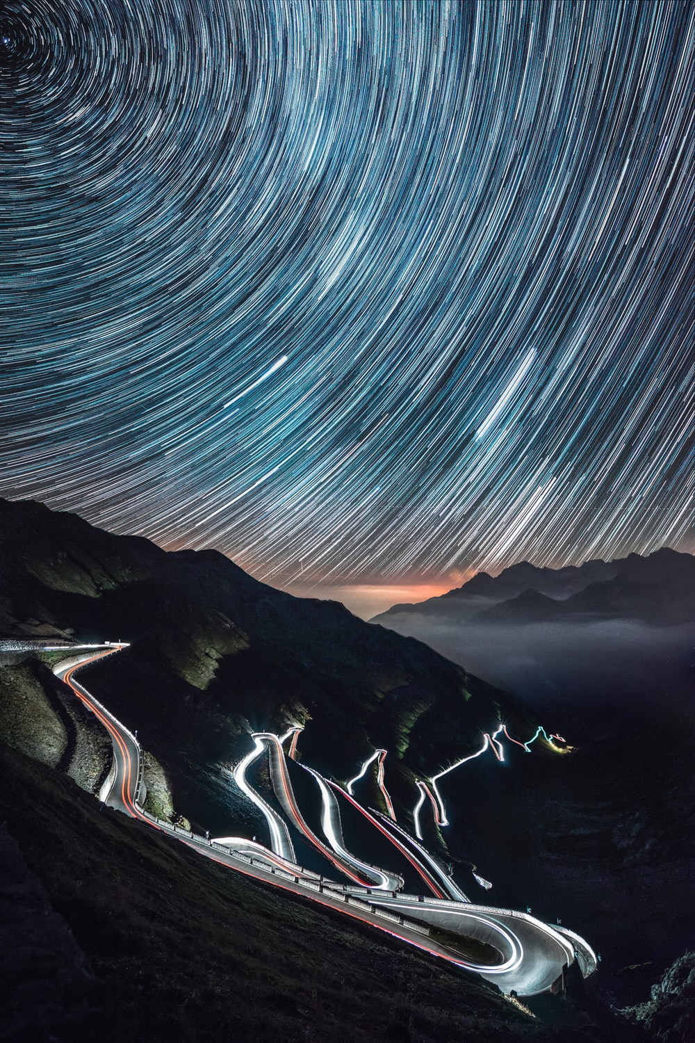 time lapse of road