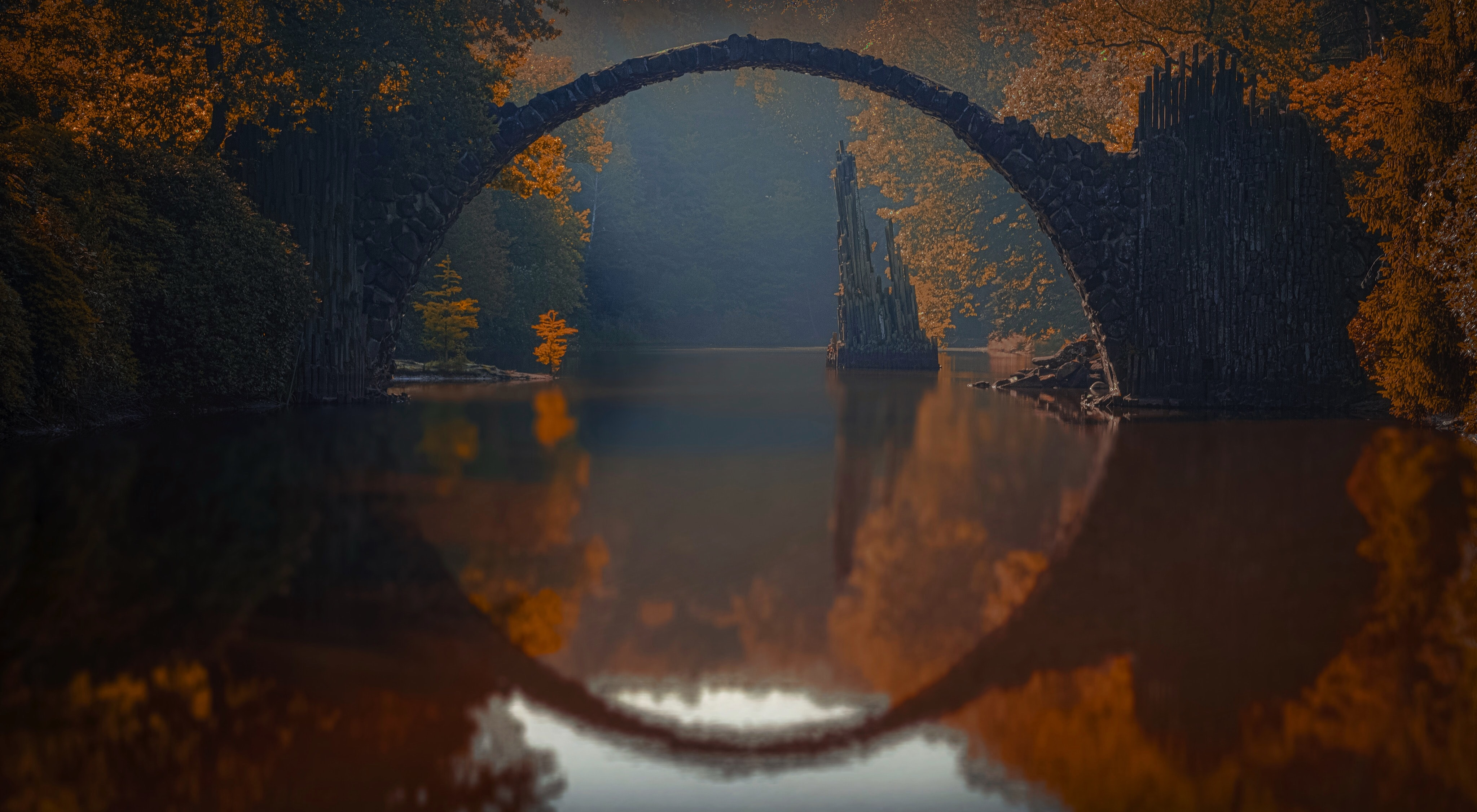 curved bridge in the middle of foreset