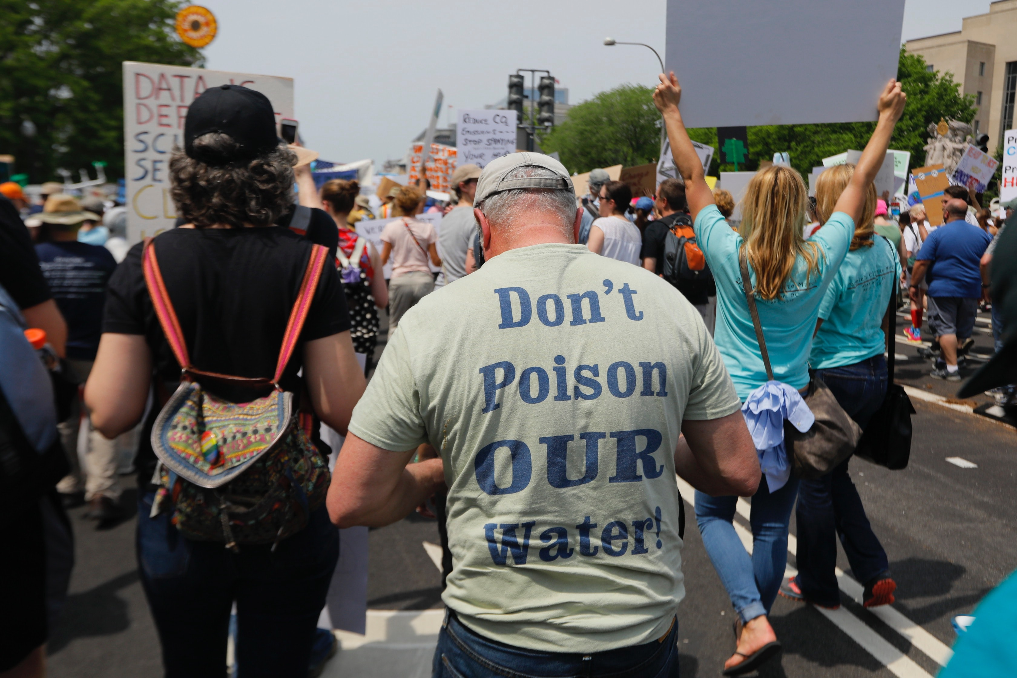 The back view of the street protesters during a rally in Washinton.