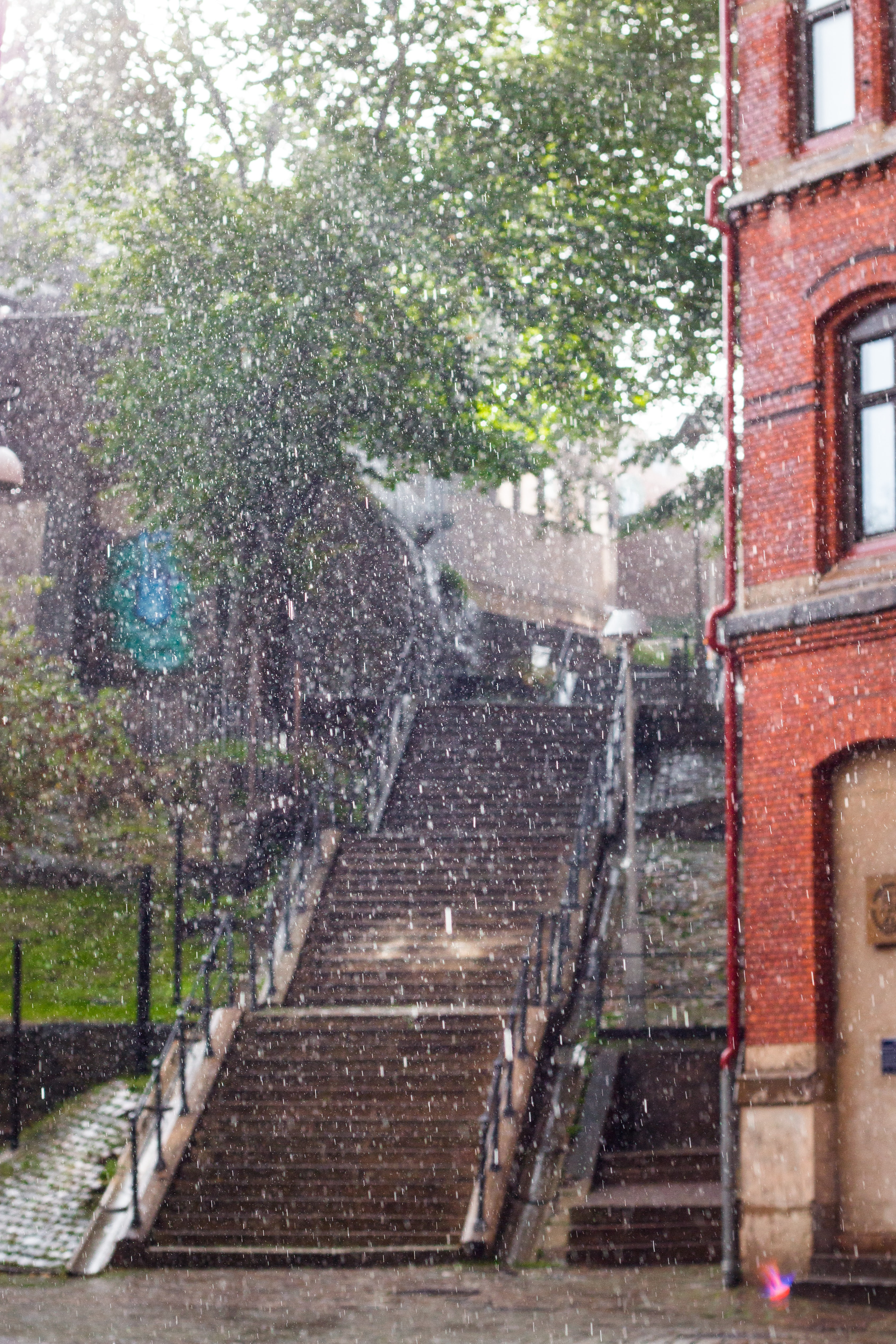 rainfall on building and stairs
