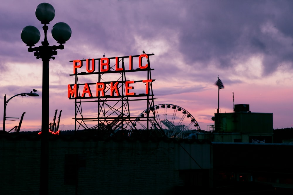 Public Market lighted signage during nighttime