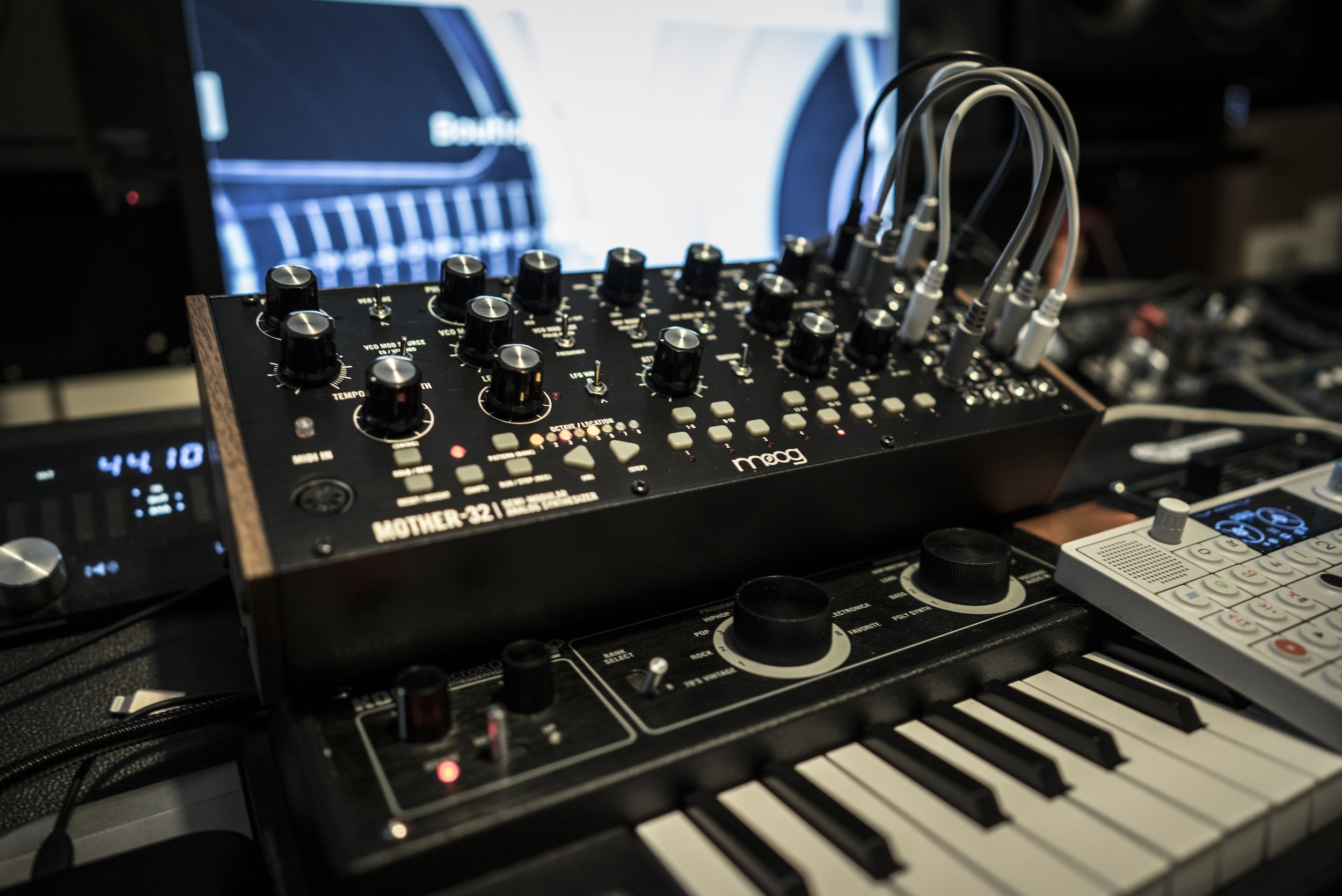 selective focus of audio mixer and electronic keyboard