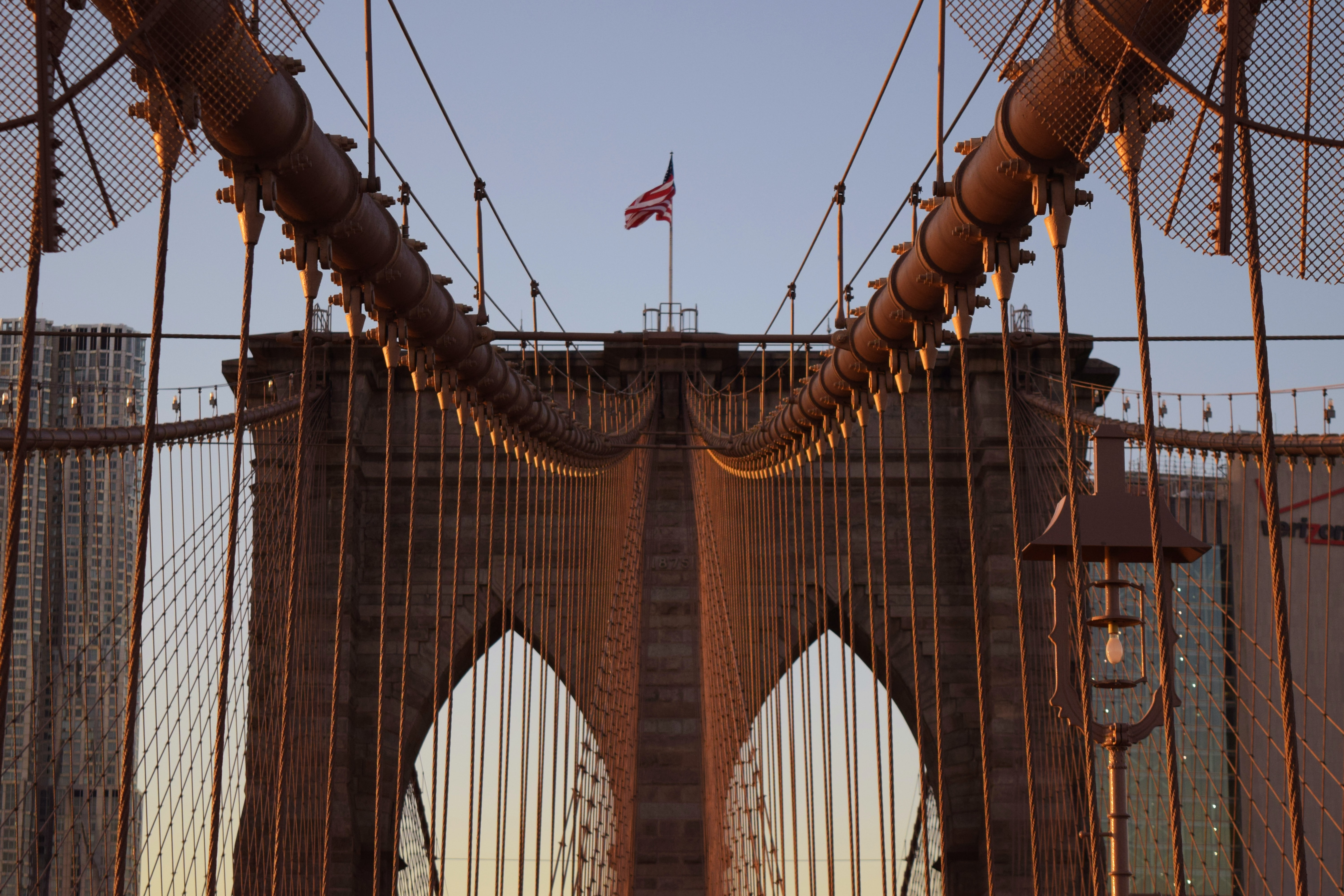 close-up photo of red cable bridge