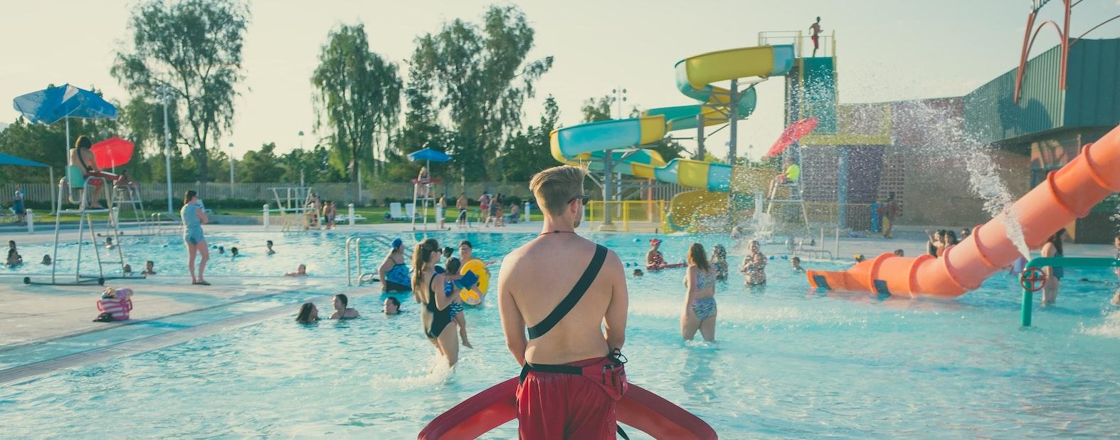 A guy in waterpark